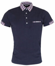 Relco Polo Shirt-Navy/Tartan,Short Sleeve, Button Down, Mod,Retro 60s,Scooter