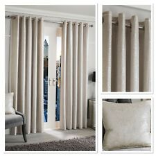 Sundour Luxury Glimmer Fully Lined Eyelet Curtains Pearl