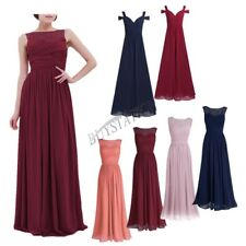 Women Lace Long Chiffon Maxi Wedding Bridesmaid Formal Party Prom Evening Dress
