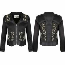 New Womens Zipper Up Floral Lace Panel Ladies Collared Blazer Coat Jacket Top