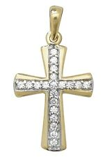 Men's 9ct Gold Cubic Zirconia Cross Necklace