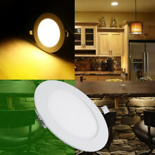 6W 12W LED Round Recessed Ceiling Flat Panel Down Light Ultra Slim Warm White