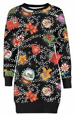 New Womens Christmas Sweat Shirt Mini Dress Snowman Fleece Tunic Top 8-22