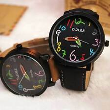 New Men's Boy Girl Student Leather Quartz Waterproof Analog Wrist Watch 347