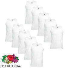10 CANOTTE BIANCHE CANOTTIERE UOMO FRUIT OF THE LOOM  VALUEWEIGHT taglie s-xxl