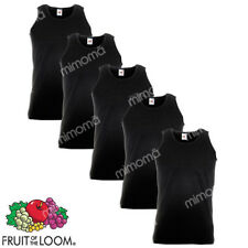 5 CANOTTE NERE CANOTTIERE UOMO FRUIT OF THE LOOM  VALUEWEIGHT   taglie s-xxl