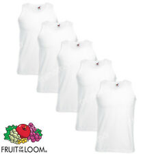 5 CANOTTE BIANCHE CANOTTIERE UOMO FRUIT OF THE LOOM  VALUEWEIGHT taglie s-xxl