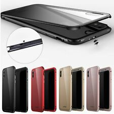 Luxury Aluminum Metal Bumper Frame Case Toughened Glass Cover For iPhone X ( X )