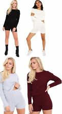 New Women Cable Knitted Jumper Shorts LoungeWear Long Sleeve Ladies Tracksuit