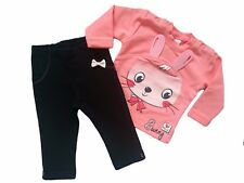 """Baby Girls HIGH QUALITY! Tracksuit """"CORAL BUNNY"""" Top & Trousers/Leggings SET"""