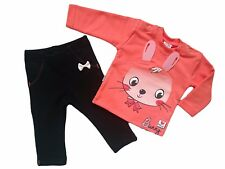 """Baby Girls HIGH QUALITY! Tracksuit """"CORAL BUNNY"""" Top & Trousers/Leggings Outfit"""