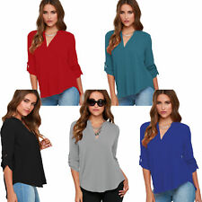 Crepe Long Blouse Shirt Tunic Dress Top Gymnastic Up Sleeves Business S 34 36 38