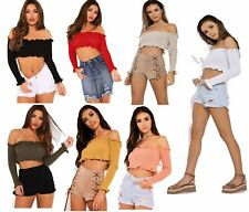 Womens Off Shoulder Ribbed Ruffle Frill Long Sleeved Knitted Bardot Crop Top