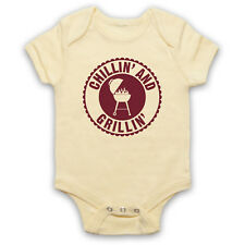 BBQ CHILLIN AND GRILLIN RETRO SLOGAN FUNNY BARBEQUE BABY GROW BABYGROW GIFT