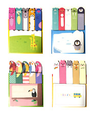 Set of 2 or 4 Animal Kawaii Cute Sticky Notes Memo Pad Marker Tab Index Labels
