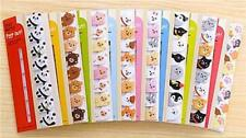 Set of 3 or 6 Animal Kawaii Cute Sticky Notes Memo Pad Marker Tab Index Labels
