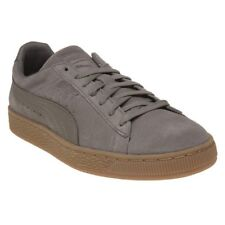New Mens Puma Natural Grey Suede Trainers Retro Lace Up