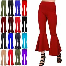 Ladies Womens Ruffle Frill Bell Bottom Palazzo High Waisted Cigarette Trousers