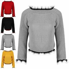 Womens Ladies Ruffle Frill Ruched Knit Off Shoulder Bardot Jumper Cropped Top