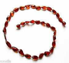 Genuine Baltic amber necklace 46 cm, dark cognac beans beads, adults jewellery