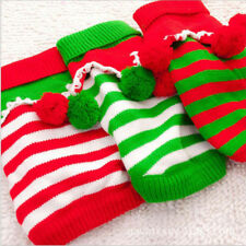 Pet Dog Clothes Christmas Sweater Puppy Cat Striped Knit Winter Jumper Apparel