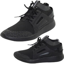 Mens Crosshatch Black Cuff Athletic Ankle Running Sports Gym Trainer Shoes