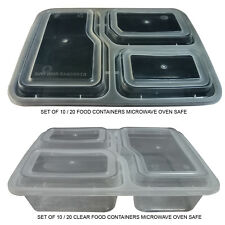 10 / 20Pc MICROWAVE SAFE 3 COMPARTMENT REUSABLE PLASTIC FOOD LUNCH BOX CONTAINER