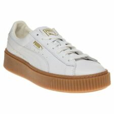 New Womens Puma White Basket Platform Core Leather Trainers Platforms Lace Up