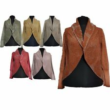 New Womens Floral Pattern Open Front Long Sleeves Knitted Warm Cardigan Coat Top