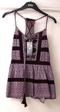 M&S Sleep Rest Relax Dream Size 6 Strappy Flared Tiered Pyjama Top with Crochet