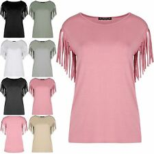 New Women Ladies Short Sleeve Blouse Casual Top Fringe Summer Loose Tee T Shirt