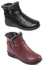 Ladies Cushion Walk Winter Faux Leather Warm Faux Fur Lined Comfort Ankle Boots