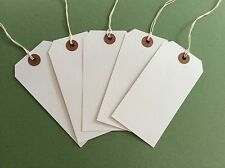 120x60mm White Strung Tags Tie On Luggage Gifts Labels Wedding Card String Craft