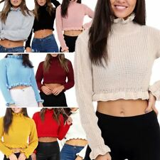 Ladies Womens Plain Knitted Ruffle Frill Edge Chunky Cropped Jumper Top