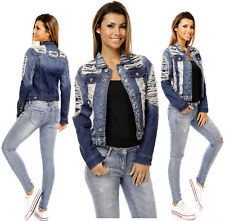 Sexy Womens Jeans Cropped Ripped Destroyed Light Blue Jacket Denim S 172