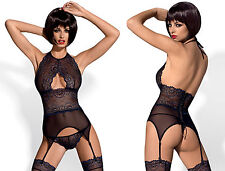 OBSESSIVE Oriens Corset, Suspender Straps, Stockings and Matching Thong Set