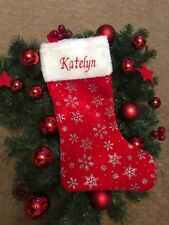 Personalised Embroidered Christmas Stockings Sparkly Red Blue - Add Own Name!