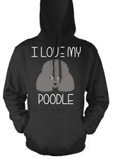 POODLE DOG GREY SILVER UNISEX KIDS ADULTS HOODIE HOODY XMAS GIFT PRESENT