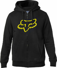 Fox Racing Mens Black Tracked Sherpa Casual Zip-Up Hoody Hoodie Sweater
