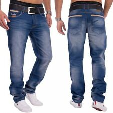 uomo jeans denim blu scuro Stone Washed Relaxed Fit abbottonatura sciolto