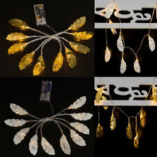 10LED Metal Feather Fairy String Lights Battery Christmas Xmas Party Decor Light