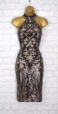 ~ELISE~ Black Sequin High Neck Celeb Bodycon Evening Mini Party Dress Size 10 12