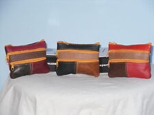 A Small Soft Leather Coin/Change Purse With 4 Zip Pockets In Multi Patchwork.