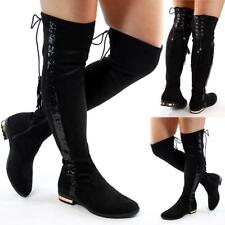 NEW WOMENS LADIES THIGH OVER THE KNEE HIGH HEEL WINTER FASHION BOOTS SHOES SIZE