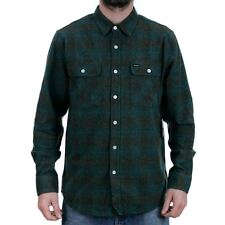Brixton Bowery Flannel Shirt Ocean Blue Grey New In Free Delivery Huge Range
