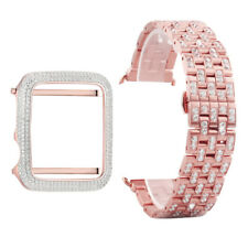 Rose Gold Tone Apple Watch Bezel Series 1 38mm Custom 925 Silver With Steel Band
