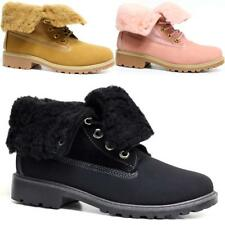 Ladies Hiking Boots Womens Ankle Desert Winter Fur Combat Chelsea Walking Shoes