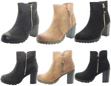 Womens Chelsea Shoes Ladies Faux Suede Leather Ankle Boots Block High Heel