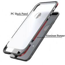 For iPhone X 8 Plus Aluminum Bumper Military Shockproof Acrylic Armor Case Cover