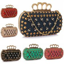 Skull Clutch Bag Ladies Evening Handbag New Womens Unique With Chain Shoulder